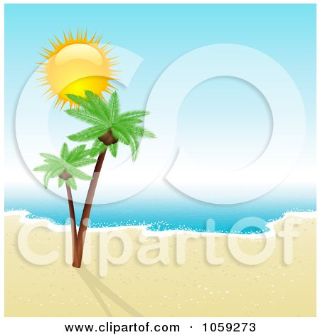 Royalty-Free Vector Clip Art Illustration of a Sun Shining Over Double Palm Trees On A Deserted Tropical Shore by KJ Pargeter