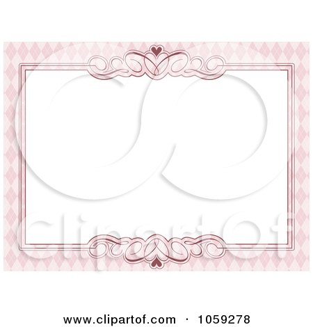 Royalty-Free Vector Clip Art Illustration of a Pink Argyle, Swirl And Heart Frame Around White Space by KJ Pargeter