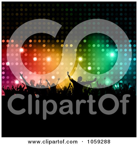 Royalty-Free Vector Clip Art Illustration of a Sparkly Colorful Backdrop With Silhouetted Dancers And Copyspace by KJ Pargeter