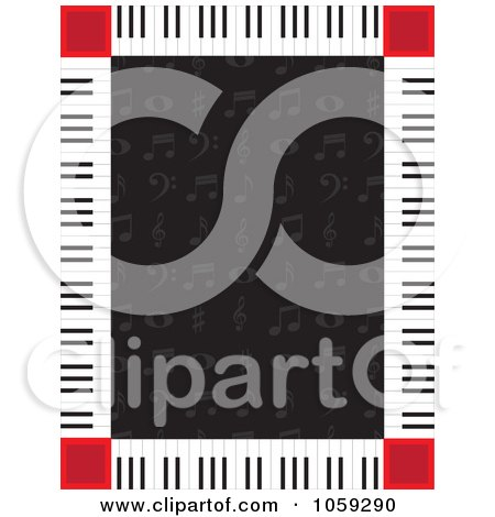 Royalty-Free Vector Clip Art Illustration of a Piano Key Border Around Music Notes On Black by Maria Bell