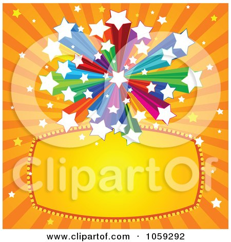 Royalty-Free Vector Clip Art Illustration of a Blank Star Sign Over Orange Rays by Pushkin