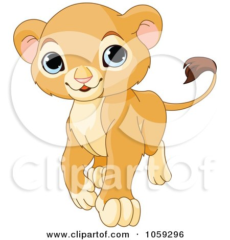 Royalty-Free Vector Clip Art Illustration of a Proud Cute Baby Lion Cub Walking by Pushkin