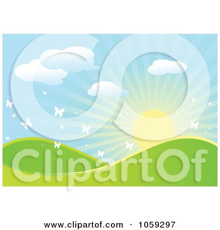 Royalty-Free Vector Clip Art Illustration of a Sun Rising Over Hills In A Spring Landscape With White Butterflies by Pushkin