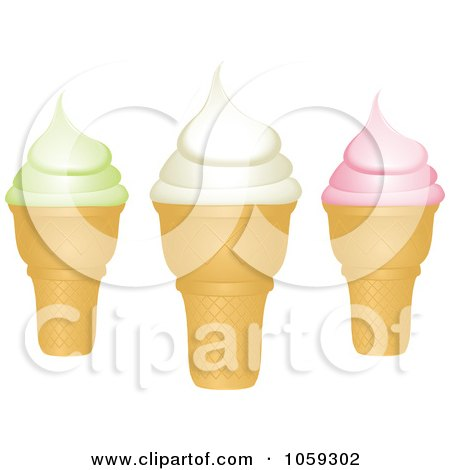 Royalty-Free Vector Clip Art Illustration of Three Ice Cream Cones by elaineitalia
