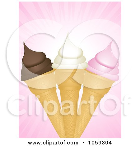 Royalty-Free Vector Clip Art Illustration of a Trio Of Ice Cream Cones Over Pink Rays by elaineitalia