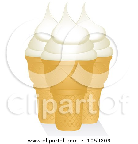 Royalty-Free Vector Clip Art Illustration of Three Vanilla Ice Cream Cones by elaineitalia
