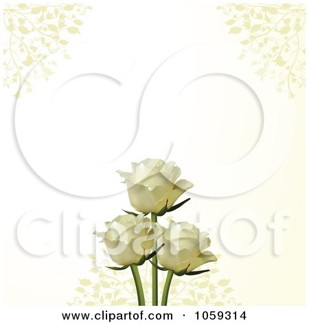 Royalty-Free Vector Clip Art Illustration of Two White Roses On An Ivory Background With Vines by elaineitalia
