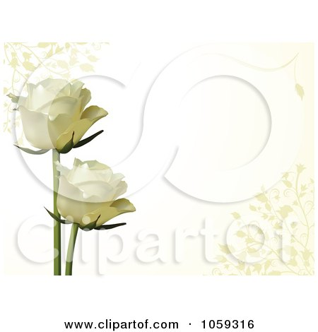 Royalty-Free Vector Clip Art Illustration of Two White Roses On A Horizontal Ivory Background With Vines by elaineitalia