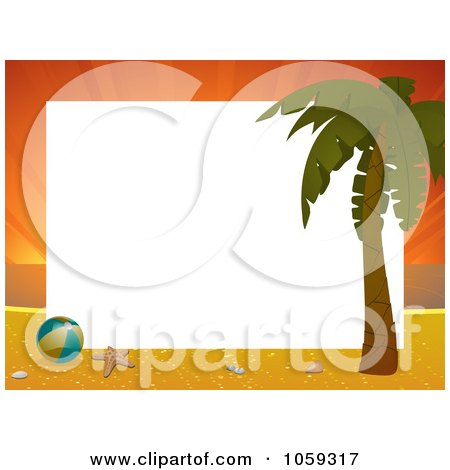Royalty-Free Vector Clip Art Illustration of a Horizontal Sunset Beach Frame With A Palm Tree And Beach Ball, Around White Space by elaineitalia