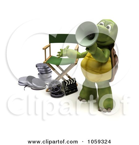 Royalty-Free CGI Clip Art Illustration of a 3d Tortoise Director Using A Cone by KJ Pargeter