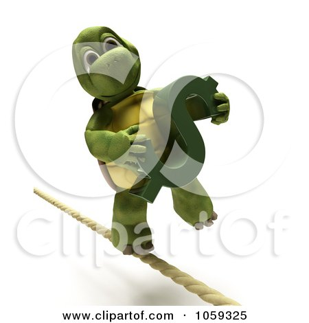 Royalty-Free CGI Clip Art Illustration of a 3d Tortoise Walking A Tight Rope With A Dollar Symbol by KJ Pargeter