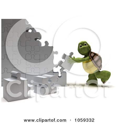 Royalty-Free CGI Clip Art Illustration of a 3d Tortoise Assembling Puzzle Pieces by KJ Pargeter