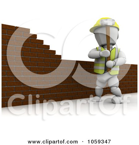Royalty-Free CGI Clip Art Illustration of a 3d White Character Mason Knocking Down A Brick Wall by KJ Pargeter