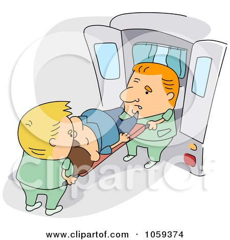 Royalty-Free Vector Clip Art Illustration of Paramedics Loading A Patient Into An Ambulance by BNP Design Studio