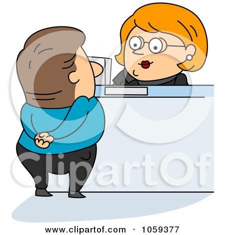 Royalty-Free Vector Clip Art Illustration of a Bank Teller Assisting A Customer by BNP Design Studio