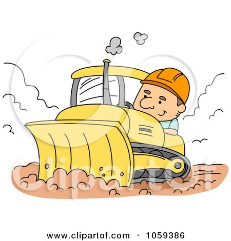 Royalty-Free Vector Clip Art Illustration of a Construction Worker Using A Bulldozer by BNP Design Studio