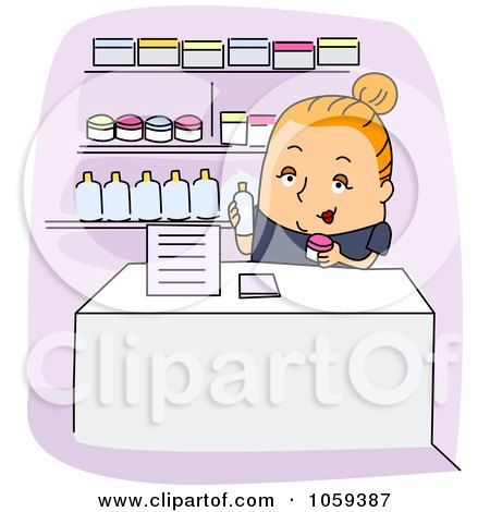 Royalty-Free Vector Clip Art Illustration of a Dermatologist's Assistant Holding Products by BNP Design Studio