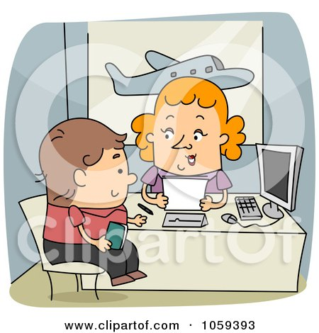 Royalty-Free Vector Clip Art Illustration of a Travel Agent Assisting A Client by BNP Design Studio