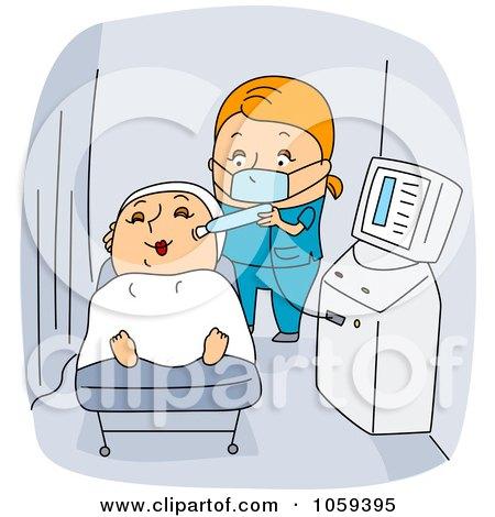 Royalty-Free Vector Clip Art Illustration of a Dermatologist Giving A Customer A Facial by BNP Design Studio