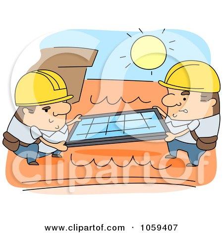 Royalty-Free Vector Clip Art Illustration of Men Installing Roof Solar Panels by BNP Design Studio