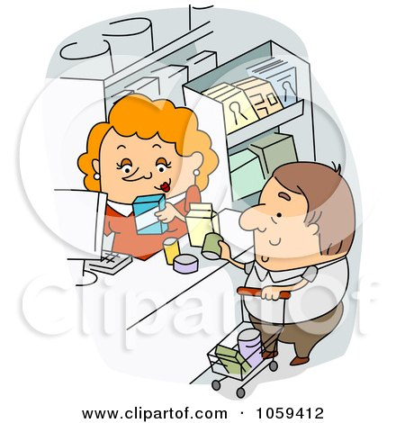 Royalty-Free Vector Clip Art Illustration of a Cashier Checking Out A Grocery Shopper by BNP Design Studio