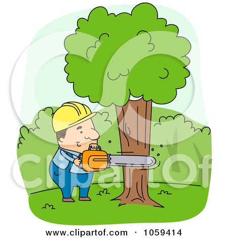 Royalty-Free Vector Clip Art Illustration of a Logger Cutting Down A Tree by BNP Design Studio