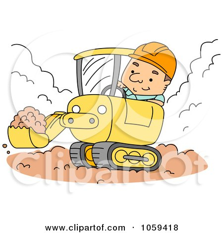 Construction Worker Using A Backhoe Posters, Art Prints