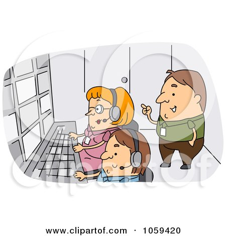 Royalty-Free Vector Clip Art Illustration of a Producer Supervising A Crew by BNP Design Studio