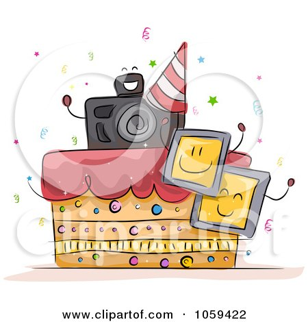 Royalty-Free Vector Clip Art Illustration of a Photography Birthday Cake by BNP Design Studio