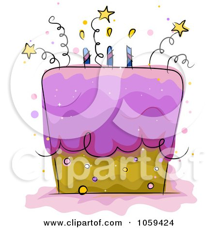 Royalty-Free Vector Clip Art Illustration of a Starry Birthday Cake by BNP Design Studio