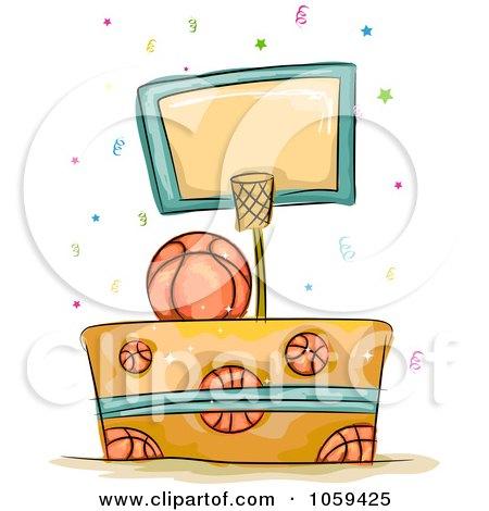 Royalty-Free Vector Clip Art Illustration of a Basketball Birthday Cake by BNP Design Studio