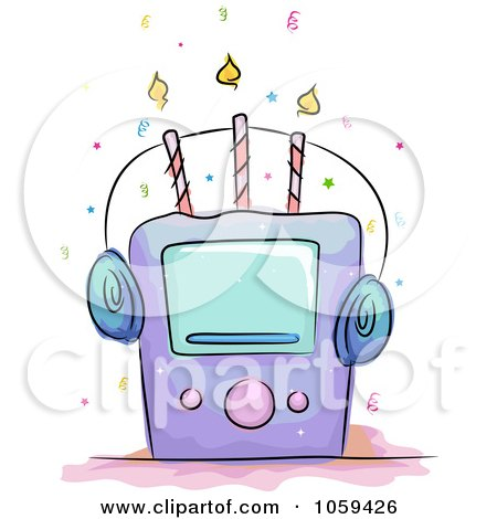 Royalty-Free Vector Clip Art Illustration of a Music Player Birthday Cake by BNP Design Studio