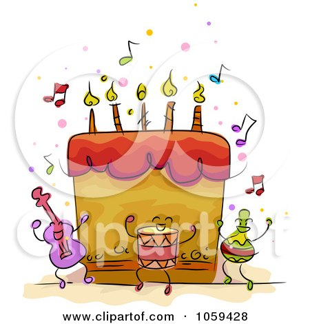 Royalty-Free Vector Clip Art Illustration of a Musical Birthday Cake by BNP Design Studio