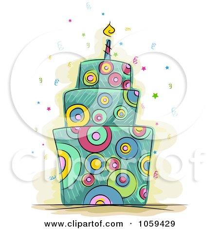 RoyaltyFree Vector Clip Art Illustration of a Psychedelic Birthday