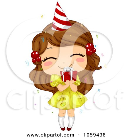 Free Vector Birthday on Royalty Free Vector Clip Art Illustration Of A Cute Birthday Girl