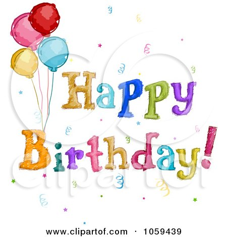 Royalty-Free Vector Clip Art Illustration of Sketched Happy Birthday Text With Party Balloons by BNP Design Studio