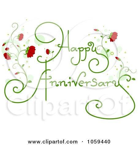 Happy Anniversary Text With Red Flowers Posters Art Prints