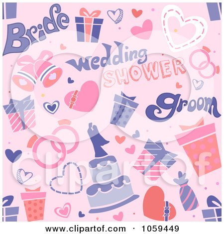 Clip Art Illustration of a Seamless Pink Bridal Shower Background by BNP