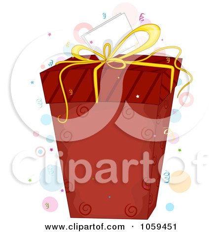Royalty-Free Vector Clip Art Illustration of a Red Gift Box And Tag With Confetti And Dots by BNP Design Studio