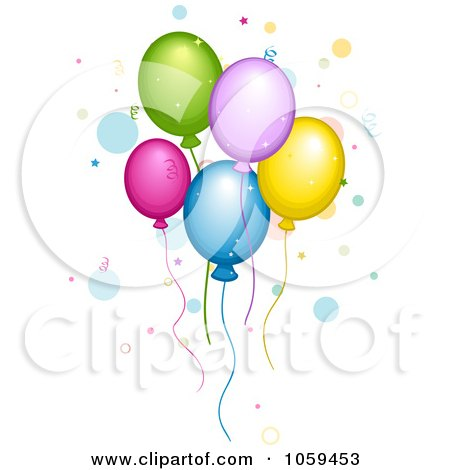 Royalty-Free Vector Clip Art Illustration of Colorful Party Balloons Floating With Confetti And Dots by BNP Design Studio