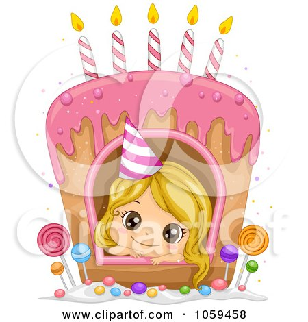 Clipart Happy First Birthday Candle On A Cake Royalty