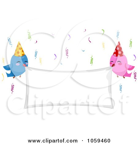 Royalty-Free Vector Clip Art Illustration of Birthday Birds Holding A Blank Banner by BNP Design Studio