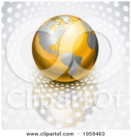 Royalty-Free Vector Clip Art Illustration of a 3d Gold And Silver Globe On Silver With Dots by Oligo