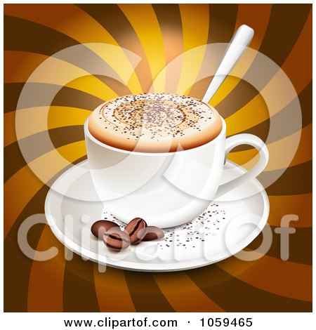 Royalty-Free Vector Clip Art Illustration of a 3d Cappuccino With Coffee Beans Over Brown Rays by Oligo