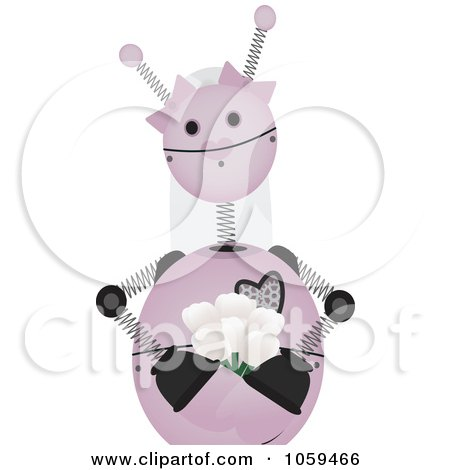 Royalty-Free Vector Clip Art Illustration of a Pink Springy Robot Bride by mheld