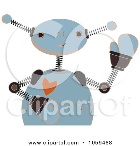 Royalty-Free Vector Clip Art Illustration of a Blue Springy Robot Waving by mheld