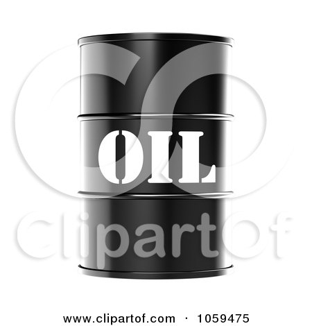 Royalty-Free CGI Clip Art Illustration of a 3d Black Barrel Of Gasoline With Oil On The Front - 2 by ShazamImages