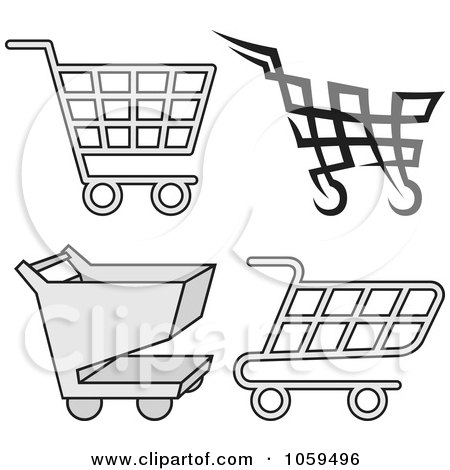 Royalty-Free Vector Clip Art Illustration of a Digital Collage Of Shopping Cart Icons by Any Vector