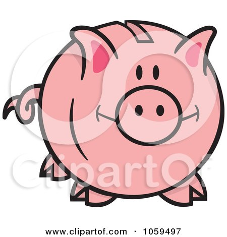 Royalty-Free Vector Clip Art Illustration of a Happy Piggy Bank by Any Vector