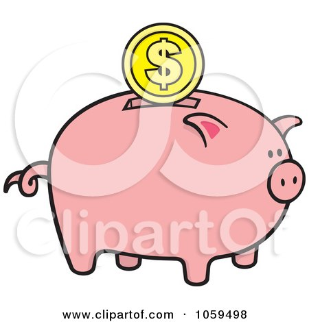 Royalty-Free Vector Clip Art Illustration of a Dollar Coin Over A Piggy Bank by Any Vector